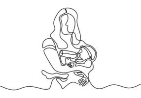 Continuous one line drawing. Woman holds her baby. Deep hug to her children. vector