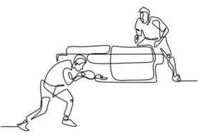 Continuous single line drawing of young agile table tennis players hitting the ball. Two athletes playing table tennis.