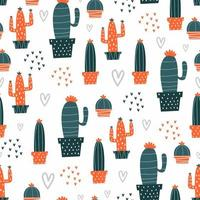 Hand drawn cactus pattern with cute colors.
