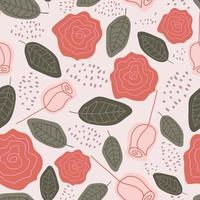 Cute rose flowers seamless pattern, childish scandinavian drawing, retro colors decoration. vector