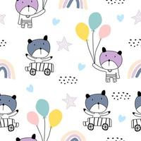 Seamless pattern with cute colorful kittens. Cats illustration in sketch style.