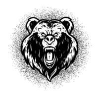 Bear illustration vector, black and white