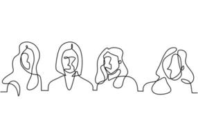 Continuous one line drawing of a woman's association. Empowering woman. vector