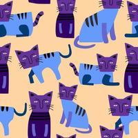 Cute cats seamless pattern.