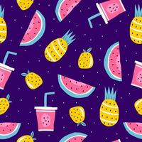 Summer seamless pattern, vector illustration with watermelon, pineapple, orange fruits, and juice.