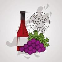 cartel de la casa del vino con botella y uvas vector