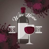 cartel de la casa del vino con botella vector