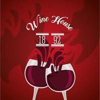 cartel de vino con copas vector