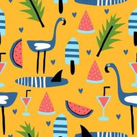 Summer seamless pattern, vector illustration with flamingo, watermelon, and palm leaves.