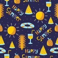 Summer seamless pattern, vector illustration with palm leaf, watermelon and juice.