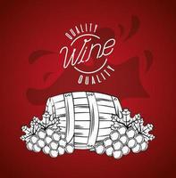 cartel de la casa del vino con barril y uvas vector