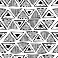 Triangle hand drawn ethnic seamless pattern. vector