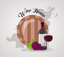wine house poster with barrel and bottle vector