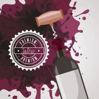 cartel de la casa del vino con botella y sacacorchos. vector
