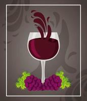Wine poster with full glass and grapes vector