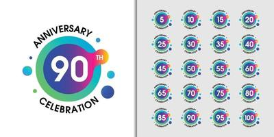 Set of modern anniversary logotype vector
