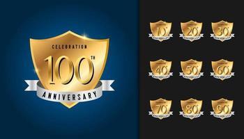 conjunto de insignias de aniversario vector
