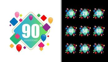 Set of happy anniversary vector