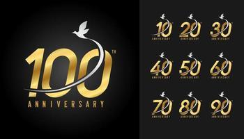 conjunto de logotipo de aniversario vector