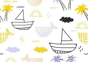 Seamless pattern with ships, fish, sun, clouds, sea and waves in the concept of children's drawings.