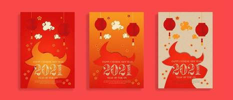 Chinese new year 2021 year of the ox Chinese zodiac symbol cards vector
