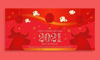 Chinese new year 2021 year of the ox Chinese zodiac symbol poster vector