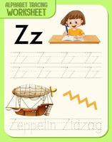 Alphabet tracing worksheet with letter Z and z