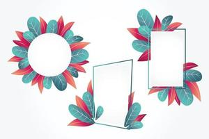 Floral Frames with Leaves Ornament