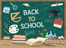 School books wooden table and green chalkboard with white background isolated with gradient mesh. vector
