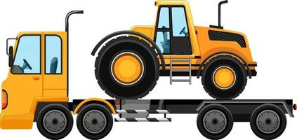 Tow truck carrying construction car isolated on white background vector