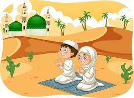 hermana musulmana y hermano en posición de oración personaje de dibujos animados vector