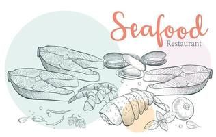Seafood pictures drawn with classic lines in pastel colors. vector
