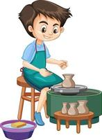Cartoon character boy making pottery clay on white background vector