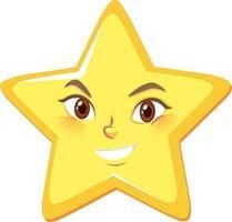 Personaje de dibujos animados de estrellas con expresión de cara feliz sobre fondo blanco. vector