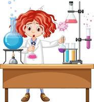 experimento del investigador en el laboratorio. vector