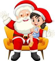 Santa Claus sitting on his lap with cute girl on white background vector