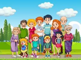 Outdoor scene with big family group vector