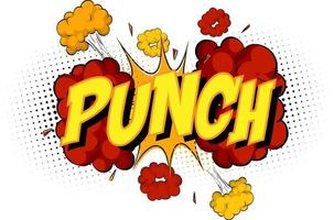 Word Punch on comic cloud explosion background vector