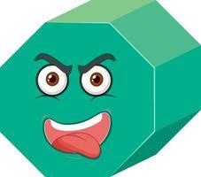 Personaje de dibujos animados de prisma hexagonal con expresión facial sobre fondo blanco. vector