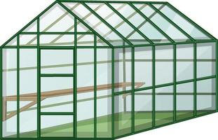 Empty Greenhouse with glass wall on white background vector