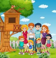 parque al aire libre con familia feliz vector