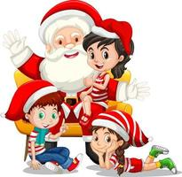 Santa Claus sitting on a lap with many kids on white background vector