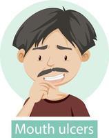 personaje de dibujos animados con síntomas de úlceras en la boca vector