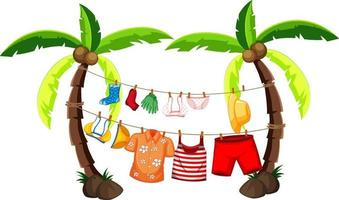 Isolated summer clothes hanging outdoor vector