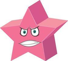 Prisma pentagrammic personaje de dibujos animados con expresión facial sobre fondo blanco. vector