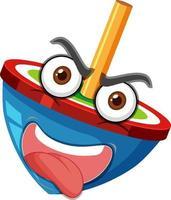 personaje de dibujos animados de peonza con expresión facial vector