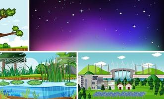 Four different scenes in nature setting cartoon style vector