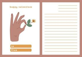 Valentines day card dedication note love letter cute Scandinavian flat design vector