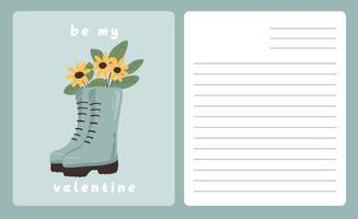 tarjeta del día de san valentín nota de dedicación carta de amor lindo diseño plano escandinavo vector