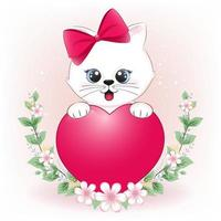 Little cat and heart with flower frame vector